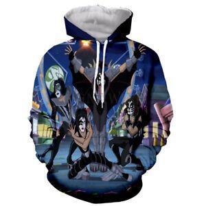 New Fashion Women//Men Kiss Rock Band 3D Print Casual Hoodies Sweatshirt S65
