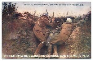 Antique-colour-printed-military-WW1-postcard-British-Machine-Gunners-gas-helmets