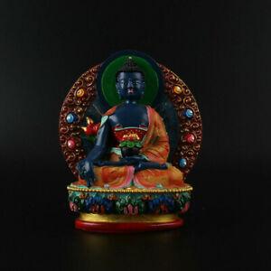 12CM-China-Tibetan-Buddhism-Resin-Coloured-Painting-Medicine-Tathagata-Buddha