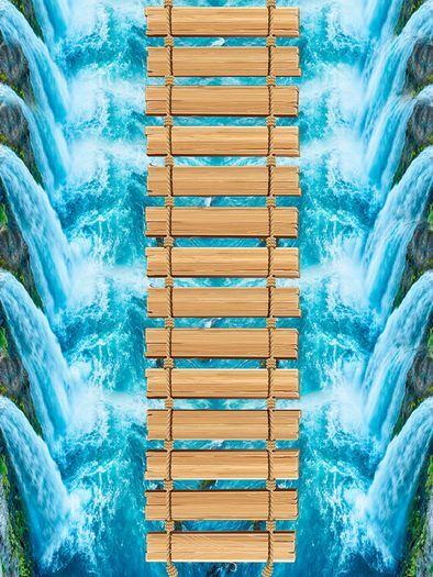3D Azul Cascada Puente Papel Pintado Mural Parojo Calcomanía de impresión de piso 5D AJ Wallpaper