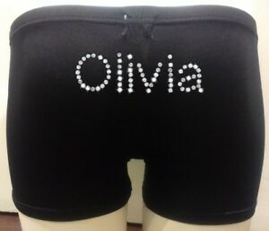 Personalised-LYCRA-Black-Dance-Gymnastic-Gym-Shorts-Silver-Glitter-Text