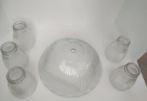 Set of 5 vintage ceiling fan light globes lamp shade clear glass image is loading set of 5 vintage ceiling fan light globes aloadofball Image collections