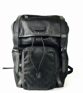 Details about Gucci Men\u0027s Black GG Nylon Drawstring Backpack w/black  Leather Trim 510336 1000