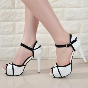 9d4b9a9c0f54b5 Summer Women s Sandals High Heel 4.3   Pumps Fashion Ankle Strap ...