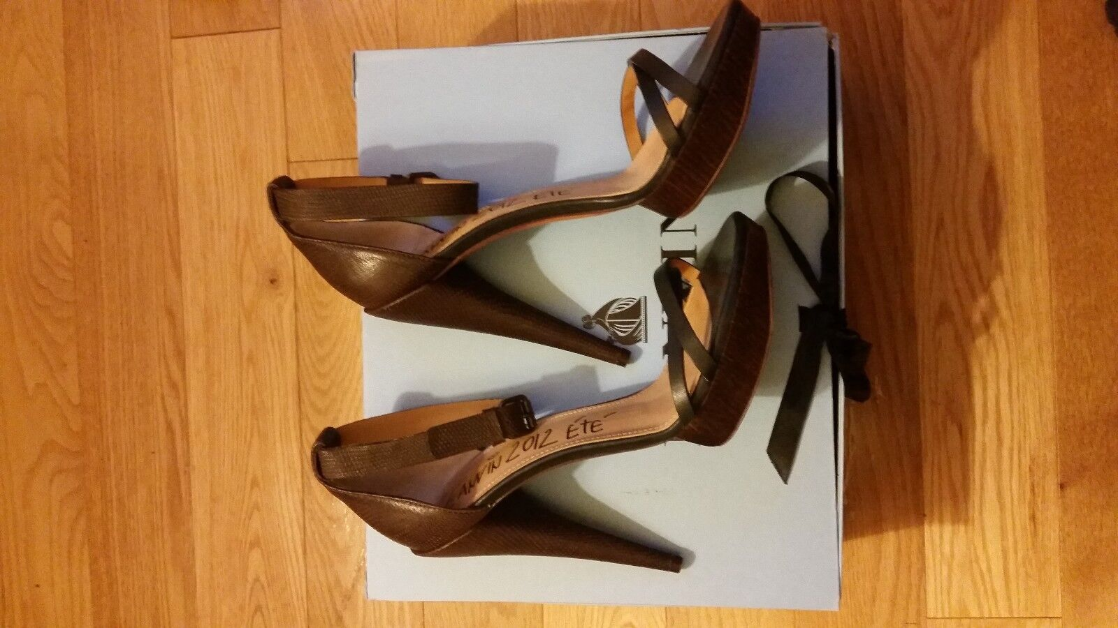 Lanvin high cone heel ankle strap sandal, marron, Taille 9.5 or 10 (40)