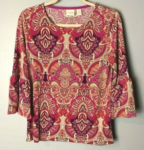 Chico's NEW Women's Top Size 0 (Small, 4) 3/4 Bell Sleeves Purple Pink Orange