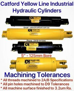 Catford-Yellow-Line-Hydraulic-Clevis-Cylinder-Ram-5-034-Bore