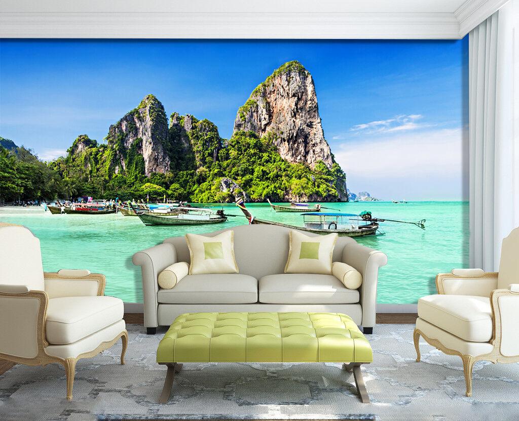3D islands landscape ship Wall Paper Print Decal Wall Deco Indoor wall Mural