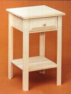 Details About Amish Solid Pine Unfinished Shaker Nightstand End Table Rustic Primitive
