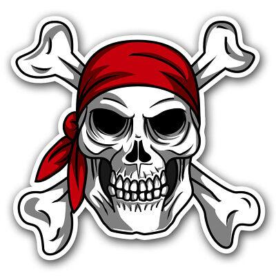 Pirate Bandana Jolly Roger Skull and Crossbones Sticker Car Window Truck Decal