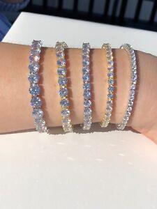 Men-039-s-Women-039-s-Tennis-Bracelet-SOLID-925-Sterling-Silver-ITALY-Single-Row-Diamond