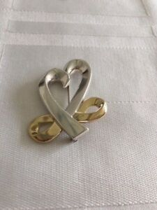 640728d24afd8 Details about Tiffany & Co Paloma Picasso Loving Heart with Bow Sterling /  18K Brooch Pin