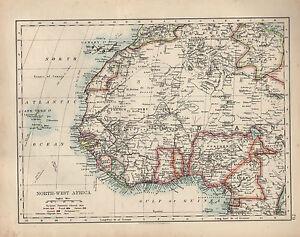 1909 MAP ~ NORTH-WEST AFRICA ~ SUDAN CANARY ISLANDS ALGERIA ~ | eBay
