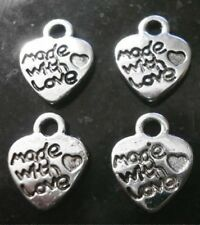 """4 Silver plated """"made with love"""" 12X10mm heart jewelry signature tags cfp027"""