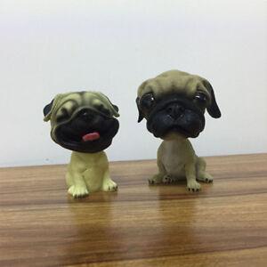 41a9eeb39f5 2 FUNNY Cute Bobble Head Pug Dog DOLL Car Home Ornaments Decor Pet ...