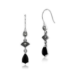 Sterling-Silver-0-86ct-Black-Onyx-amp-8-4pt-Marcasite-Art-Deco-Style-Drop-Earrings