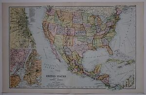 1910 ORIGINAL MAP UNITED STATES MEXICO CENTRAL AMERICA ...