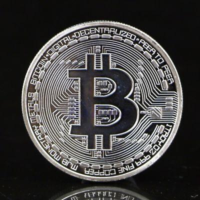 1 x Silver Plated Bitcoin Coin Collectible BTC Coin Art Collection Gift Physical