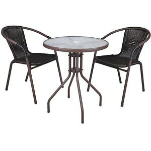 3er set bistroset sitzgruppe gartengarnitur rattan. Black Bedroom Furniture Sets. Home Design Ideas