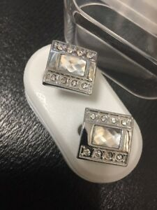 New-Silver-amp-Clear-Crystals-Men-s-Ladies-Luxury-Cufflinks-Gift-Boxed-Cufflinks