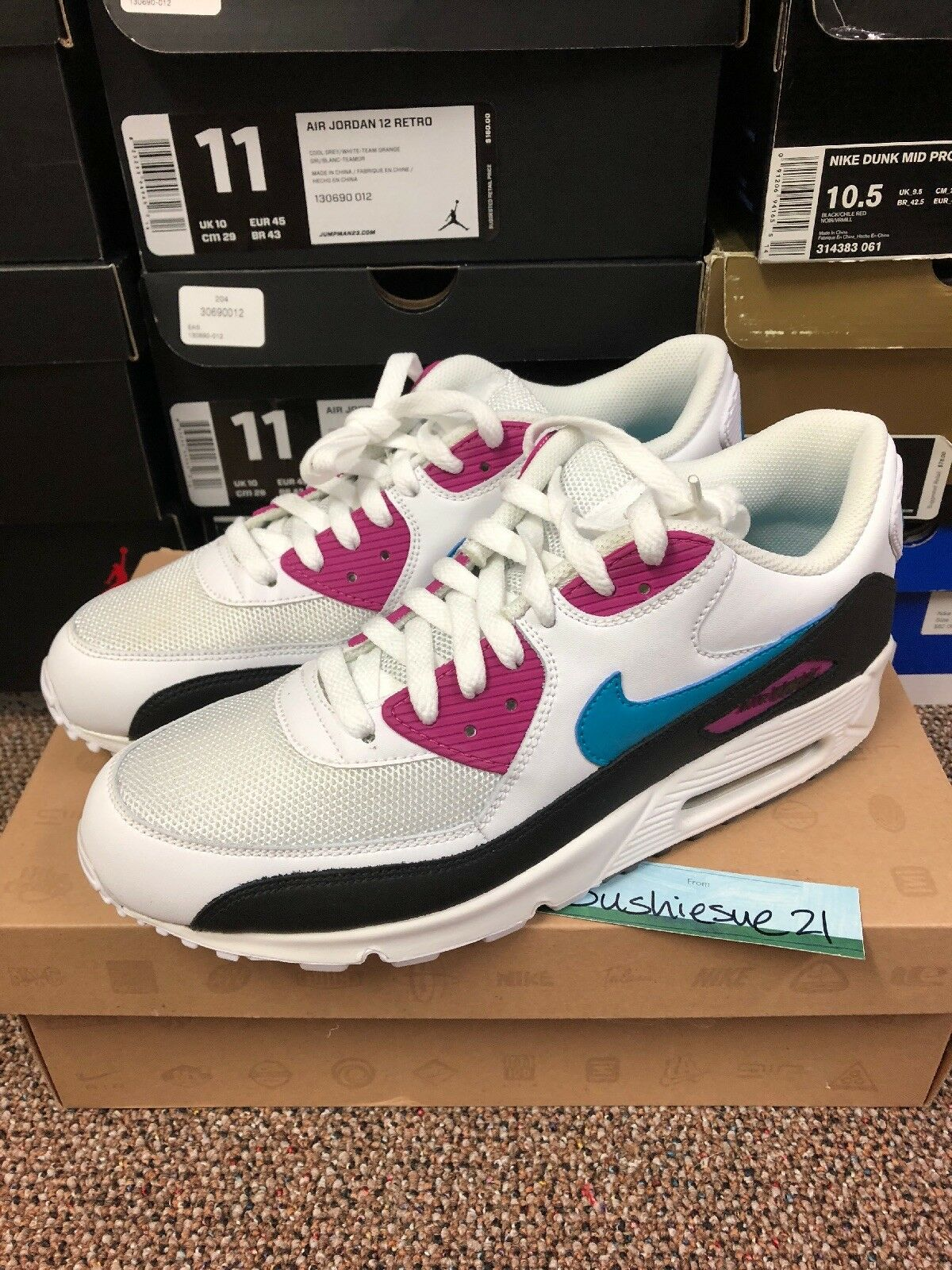 Nike Air Max 90 Turquoise Pink 10.5 Infrared Grey Off White Cork Curry Atmos