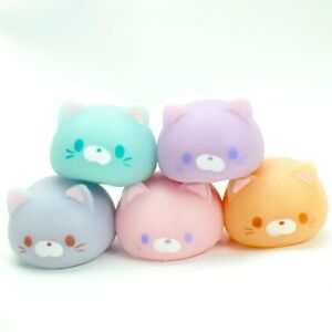 Mochi Squishy Cat Animal Squeeze Blue Pink Purple Japanese Figure 1 Random Toy