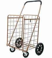 Metallic Shopping Cart Metal Caster Front Wheels Folding Grocery Laundry