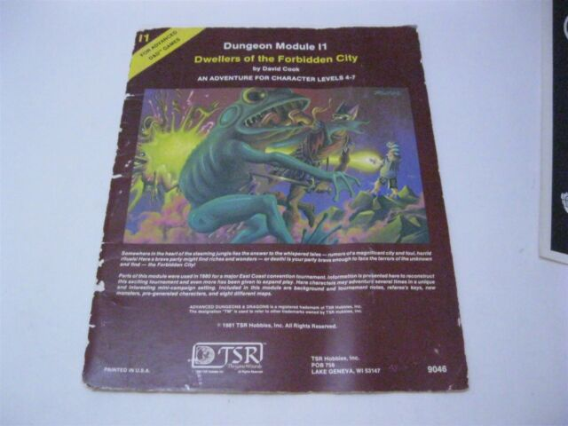 Dungeon Module I1 Dwellers of The Forbidden City TSR 9046