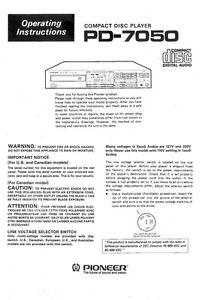 pioneer pd 7050 cd player owners manual ebay rh ebay com pioneer owners manual deh 3200ub pioneer owners manual ct-f555