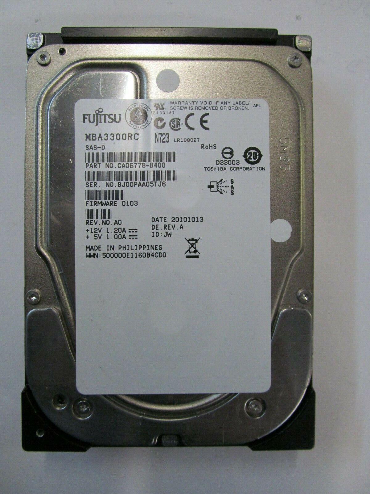 """Fujitsu MBA3300RC CA06778-B400 FW:0103 Rev A0 300gb 3.5/"""" SAS hard drive"""