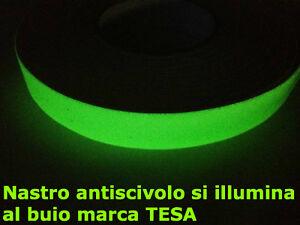 NASTRO ADESIVO ANTISCIVOLO TESA 25 mm x 6 MT FLUORESCENTE LUMINESCENTE GLOW