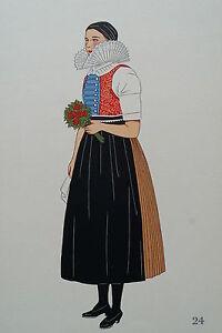 -2-5-24 Gravure Costume De Jeune Femme De Vyskova Tchécoslovaquie