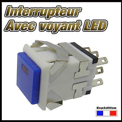 984B# interrupteur bleu carré  avec LED  de 1 à 10 pcs  ON - ON switch