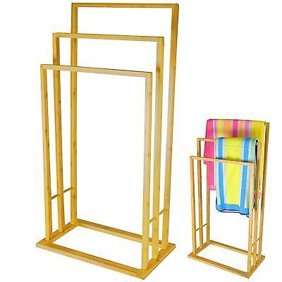 3 Tier Bamboo Wood Towel Rack Rail Bathroom Organiser Free Standing Storage Unit Een Plus Een Gratis