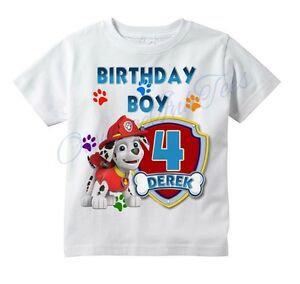 Details about MARSHALL Paw Patrol CUSTOM t-shirt PERSONALIZE Birthday gift,  CHOOSE AGE & NAME