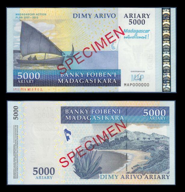 Madagascar 5000 Ariary 2007(2008) P94s UNC - Specimen (Commemorative)