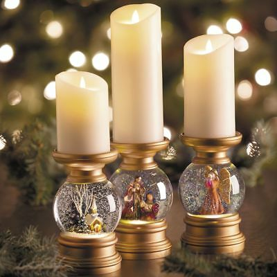 Attrayant Lighted Religious Snow Globe Gold Christmas Candle Holders Set Of 3  9780671222048 | EBay