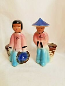 Vintage Shawnee Pottery pair Oriental/Asian Male and female Figurine Planter