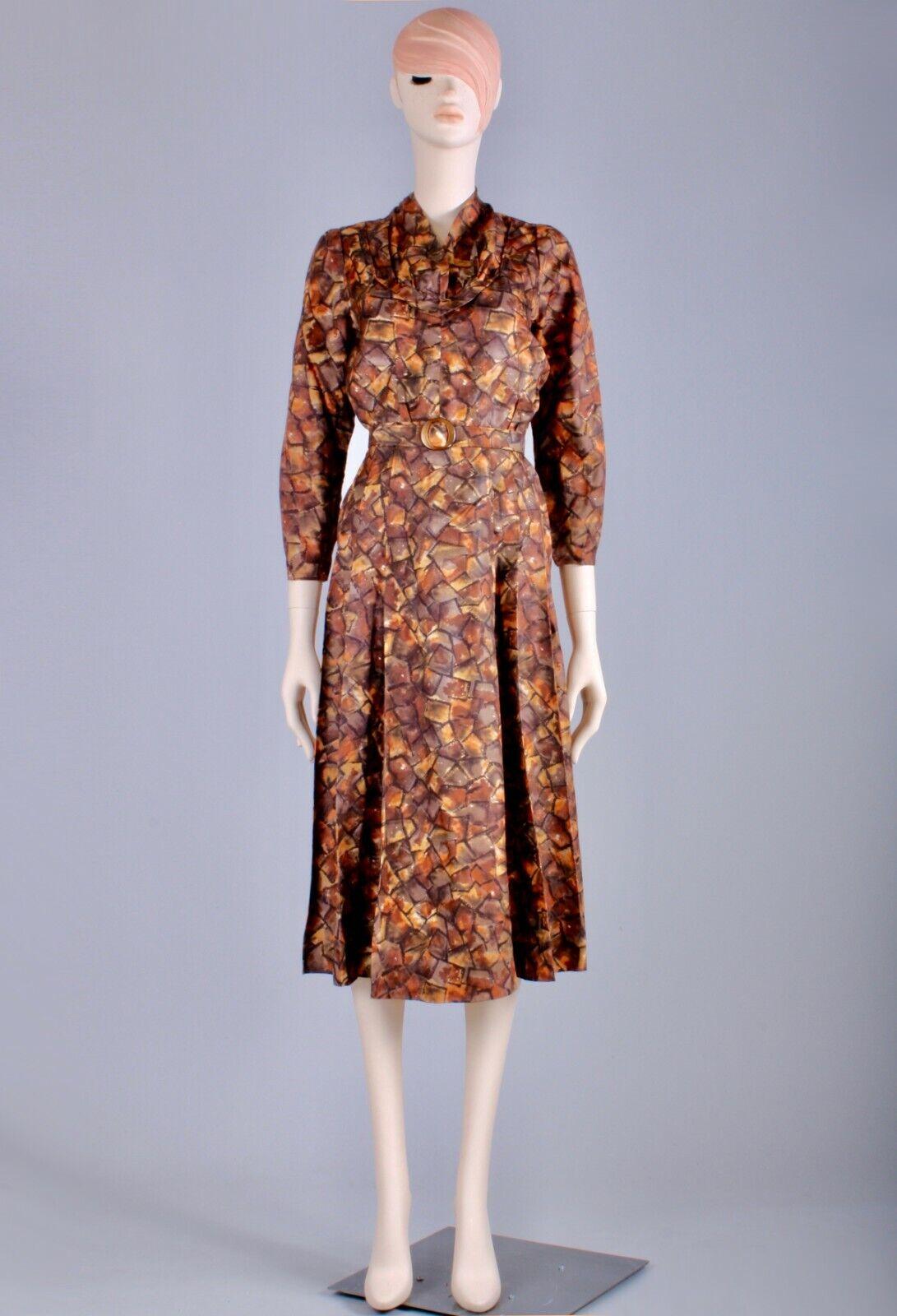 M/L Vintage 40s Copper Brown Satin Long Sleeve Te… - image 2