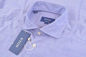 NWT Current Eton Size US 41 16 L Contemporary Fit Blue Plaid Dress Shirt New