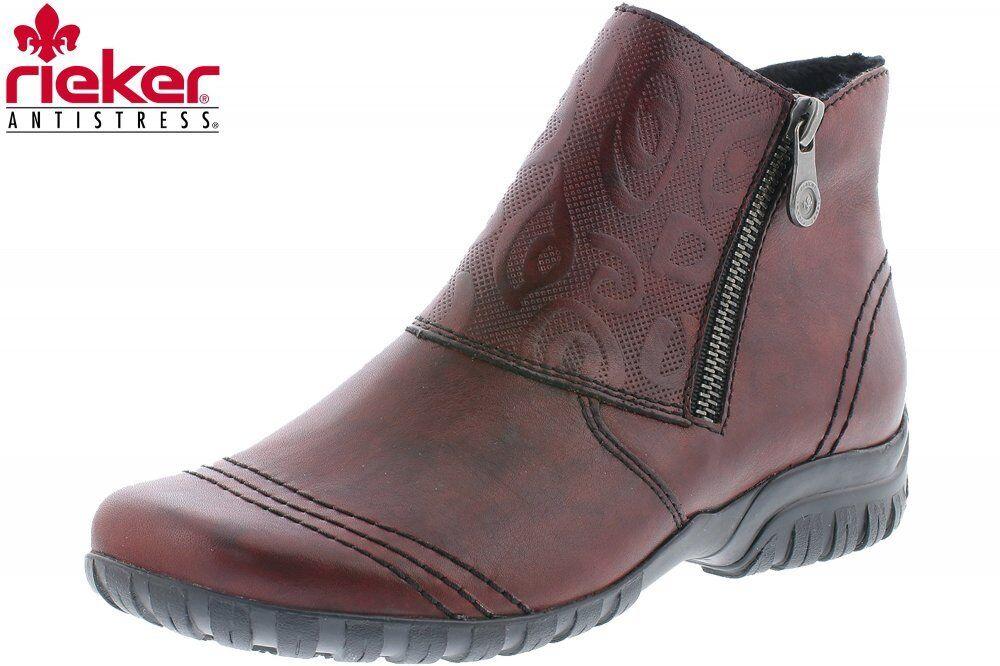 Rieker Damen Stiefelette Z4682-35 Weinrot Schuhe Leder Stiefel Z4682-35 Stiefelette 16f9fc