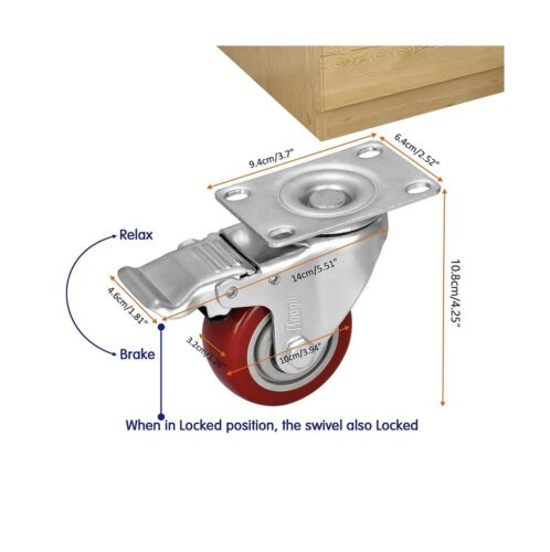 """Moogiitools 3/"""" PVC Heavy Duty 1000lbs Swivel Rubber Caster Wheels with Safety..."""
