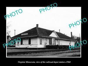 OLD-LARGE-HISTORIC-PHOTO-OF-VIRGINIA-MINNESOTA-THE-RAILROAD-DEPOT-STATION-c1960