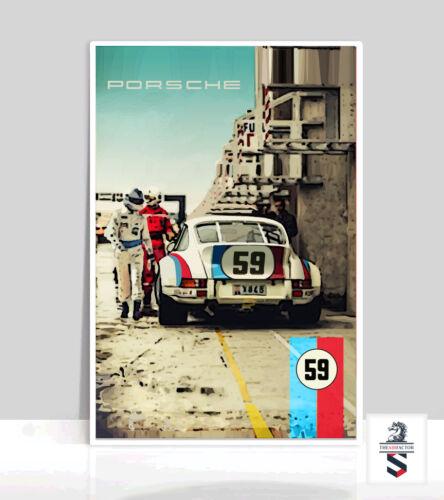 "Poster Aluminum 36/"" x 24/"" 59 Brumos 911 Porsche On The Track"