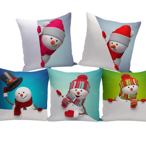 Christmas Xmas Snowman Throw Cushion Pillow Cover Case Sofa Car Home Decor Gifts