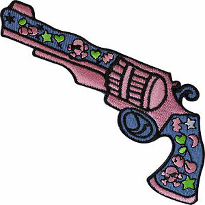 Girls-Pink-Cowboy-Pistol-Gun-Patch-Embroidered-Badge-Iron-Sew-On-Shirt-Jeans-Bag