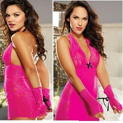 Women Sexy Babydoll V-neck Lace Dress Underwear Nightwear Sleepwear G-string