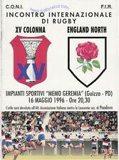 XV COLONNA, ITALY v ENGLAND NORTH 16th May 1996 RUGBY PROGRAMME at PADOVA
