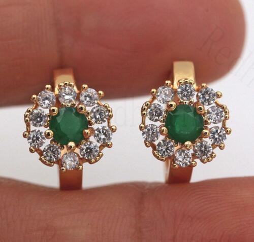 18K Gold Filled Earrings Emerald Zircon Clair Topaze Rond Fleur Oreille Hoop femmes
