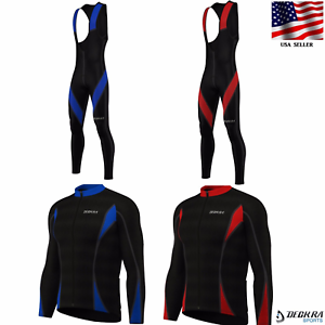 New Long Sleeves Mens Cycling Jersey + Padded Bib Tights Thermal Bike Wear